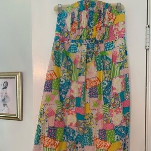 Lilly Pulitzer quilt printed strapless midi dress